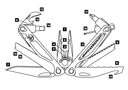 Схема инструментов Leatheman Charge AL