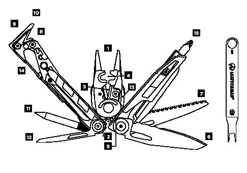Схема инструментов Leatheman MUT EOD
