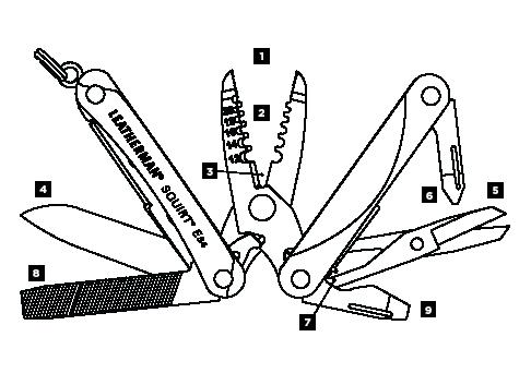 Схема инструментов Leatheman Squirt ES4