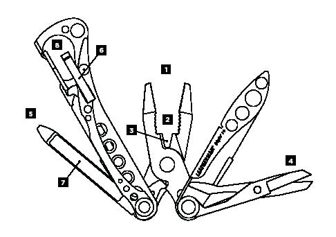 Схема инструментов Leatheman Style PS